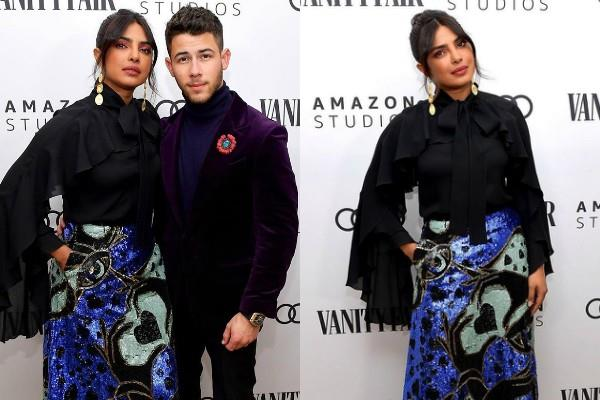 priyanka chopra attend vanity fair and amazon studios awards with nick jonas