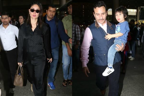 saif ali khan and kareena spotted at airport with son taimur