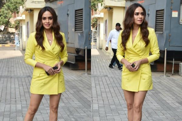 amruta khanvilkar looks stunning in blazer dress