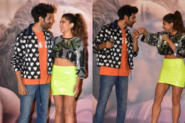 kartik aaryan sara ali khan masti at love aaj kal trailer launch