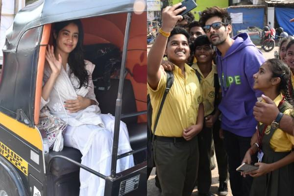 janhvi and kartik aryan spotted at versova for shooting location