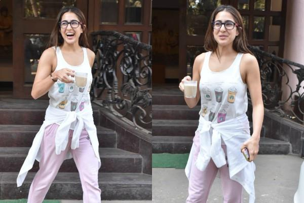 sara ali khan spotted at dubbing studio