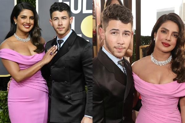 priyanka chopra nick jonas stylish appearance at golden globes awards ceremony