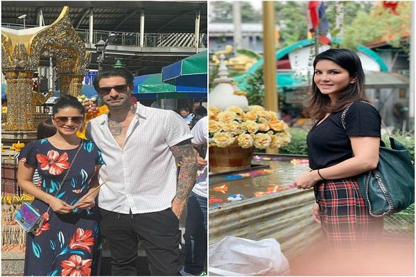 sunny leone reached the temple with her husband