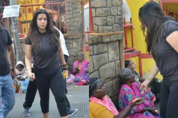 ekta kapoor misbehaving with beggars outside the shani temple