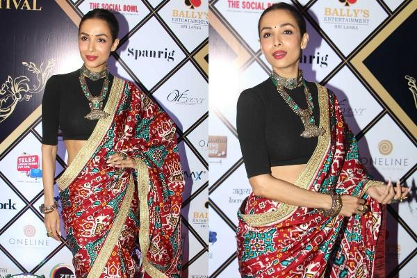 malaika arora looks beautiful in printed saree