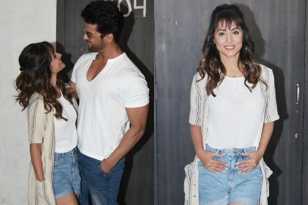 hina khan looks cute in new hairstyle as she spotted with kushal tandon