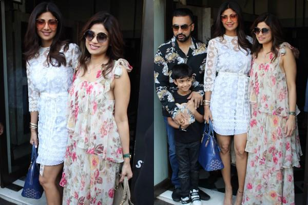 shilpa shetty spotted at restaurant with her family