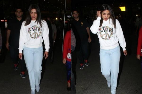 priyanka chopra stylish appearance at mumbai airport