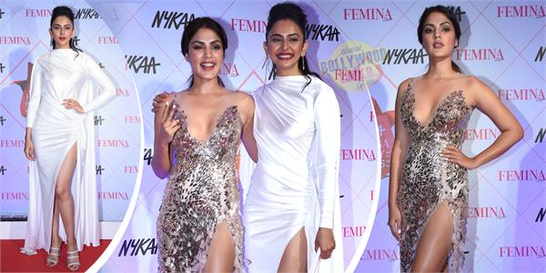rakul preet singh and rhea chakraborty looks bold at femina beauty awards