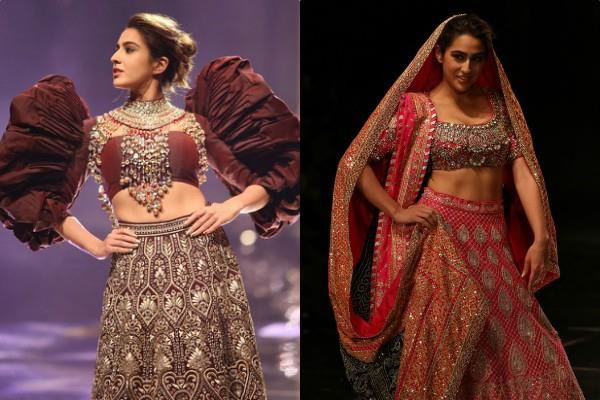 sara ali khan looks beautiful in abu jani and sandeep khosla outfit