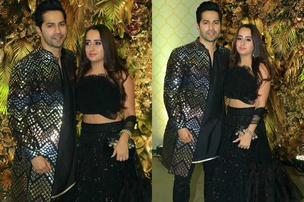 varun dhawan natasha dalal stylish appearance at armaan jain anissa reception