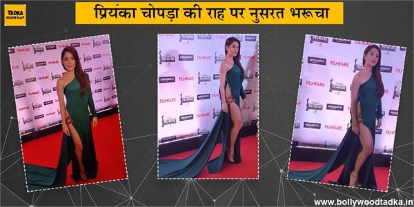 nushrat bharucha looks bold at filmfare awards curtain raiser show