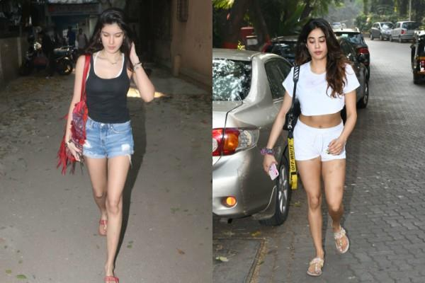 janhvi kapoor and shanaya kapoor spotted outside the gym and dance class