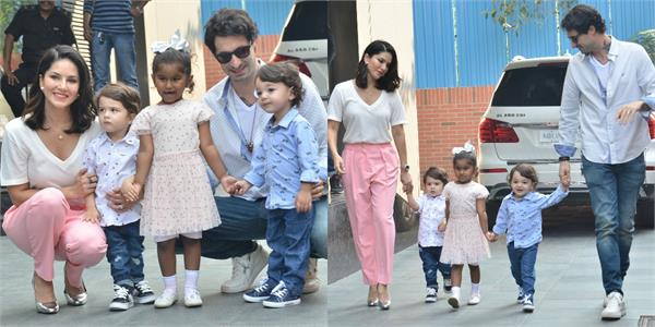 sunny leone spotted at bandra with her family