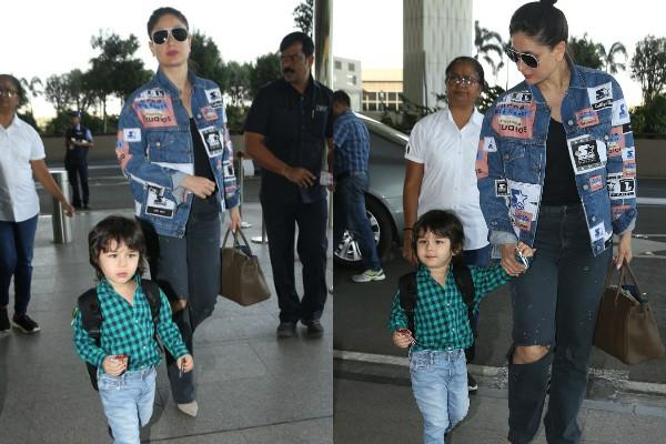 kareena kapoor spotted at airport with taimur