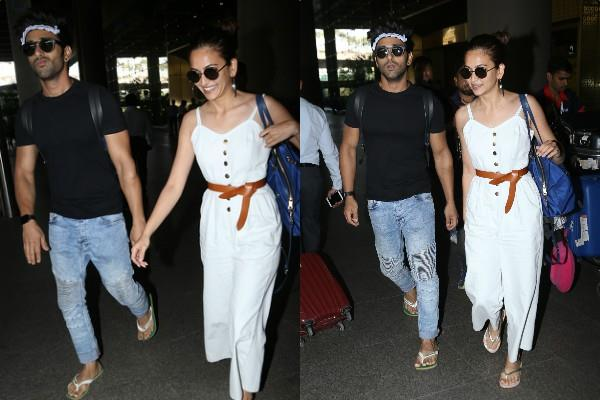 kriti kharbanda spotted at airport with boyfriend pulkit samrat