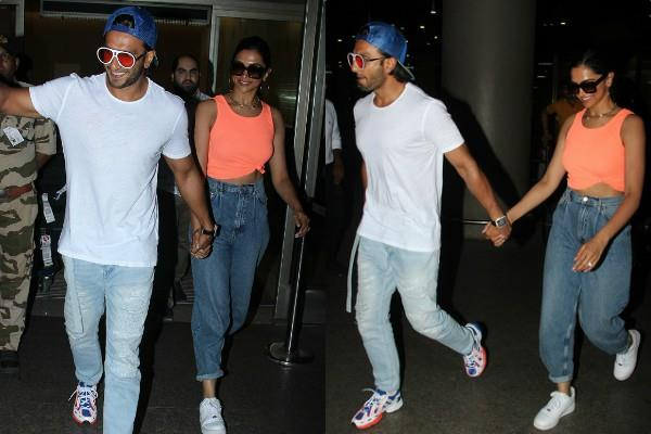 ranveer singh stylish appearance at airport with wife deepika padukone