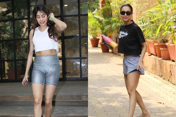 malaika and janhvi kapoor spotted at gym