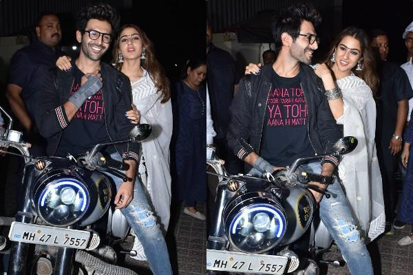 kartik aaryan and sara ali khan attends love aaj kal screening