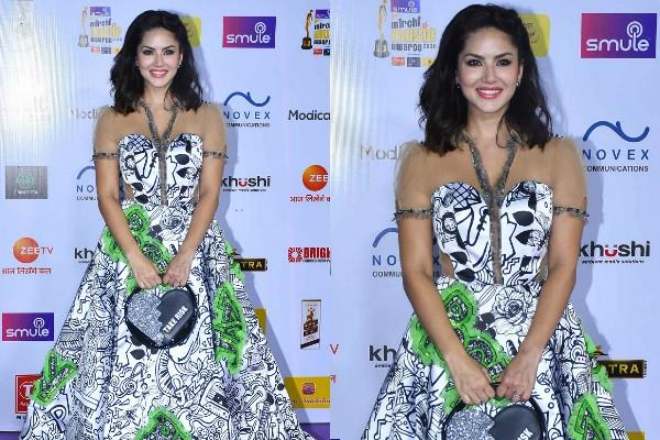sunny leone spotted at radio mirchi music awards