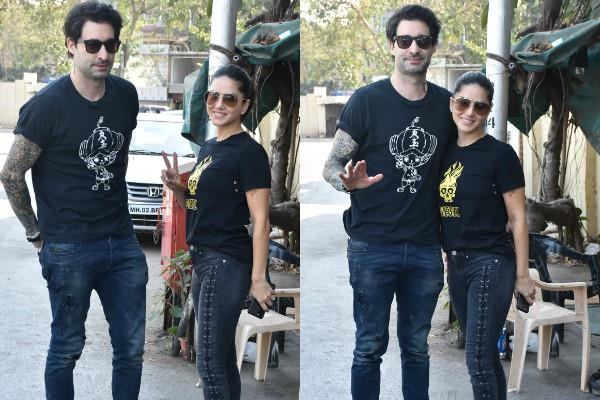 sunny leone spotted at bandra with her husband