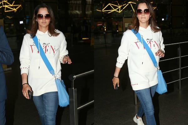 sania mirza cool look at mumbai airport