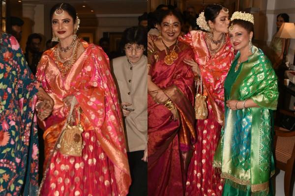 rekha spotted at wedding party with her sister