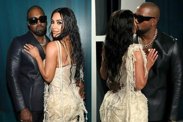 kim kardashian get cosy with husband kanye west at oscars party