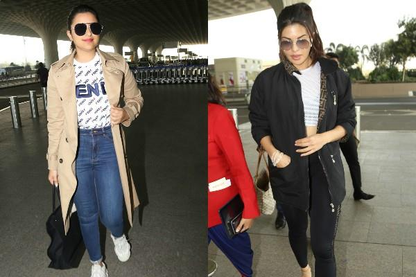 jacqueline fernandez and parineeti chopra spotted at airport