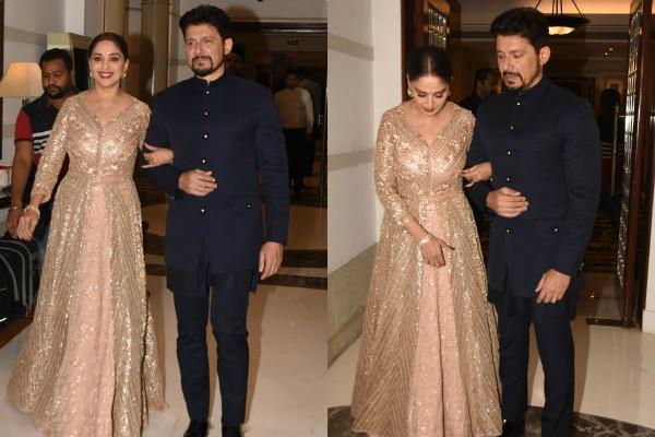 madhuri dixit spotted at wedding party with her husband