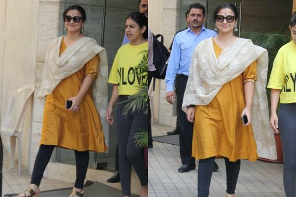 vidya balan spotted outside the office