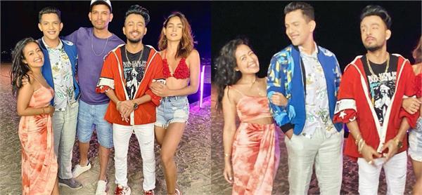 neha kakkar with aditya narayan and tony kakar at goa beach
