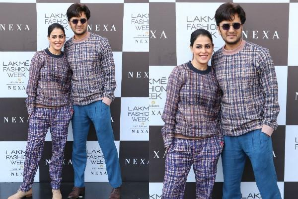 genelia and riteish deshmukh at lakme fashion week
