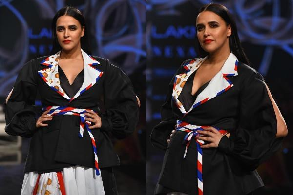 neha dhupia walks for lakme fashion week show