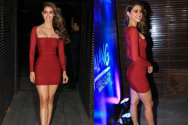 disha patani looks ravishing in a maroon bodycon dress at party