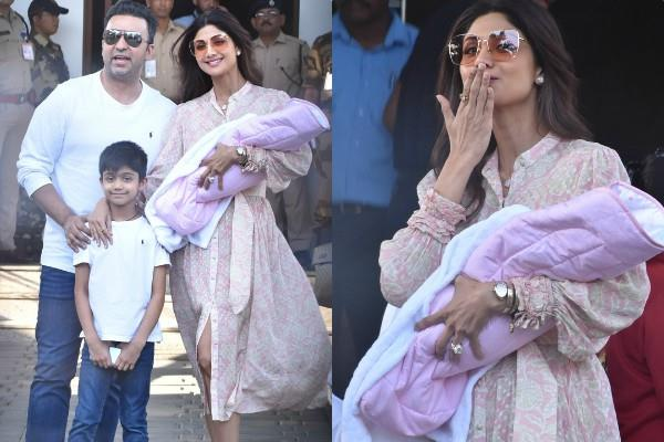 shilpa shetty spotted with newborn daughter samisha at airport with family