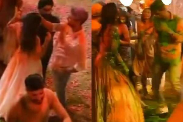 vicky kaushal fixes katrina kaif hair at holi bash