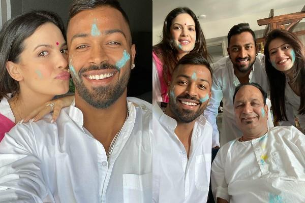 bigg boss fame natasha stanovich celebrate her holi with fiance hardik pandya