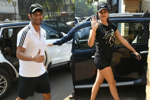 sushant singh rajput and rhea chakraborty spotted outside the gym