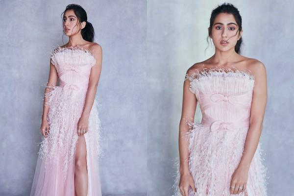 sara ali khan looks gorgeous in thigh high slit gown