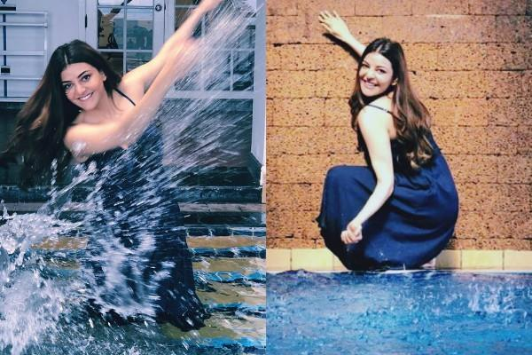 singham actress kajal aggarwal swimming pool pictures