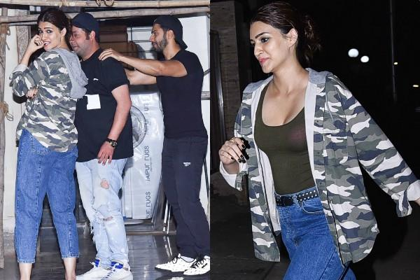 kriti sanon spotted at party with dilwale co stars varun dhawan and varun sharma