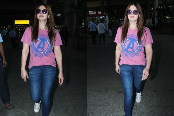 zareen khan spotted at airport
