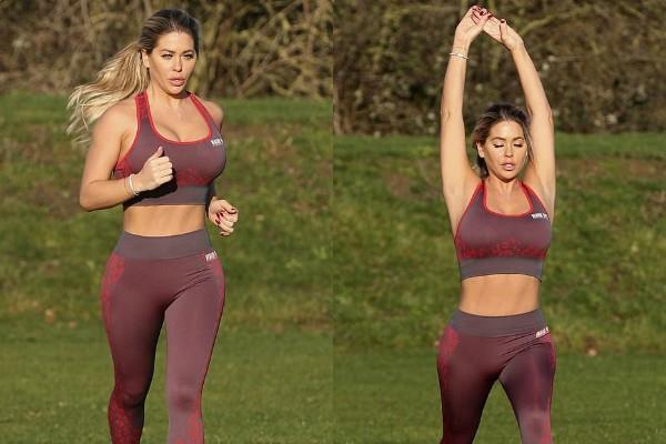 bianca gascoigne shows toned figure during workout