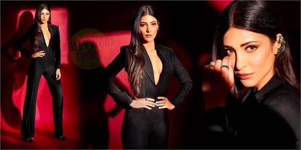 shruti haasan looked gorgeous in black outfit