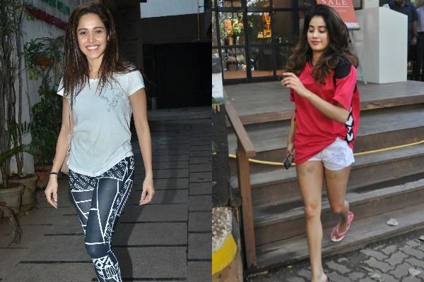 nushrat bharucha and janhvi kapoor spotted at gym