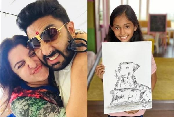 abhishek pays 1 lakh rupees for farah daughter for contribute to her charity