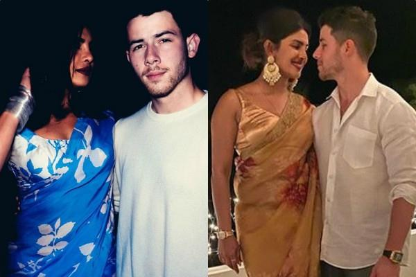 priyanka chopra wears saree as she pose for a romantic picture with hubby