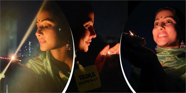 #9MinutesForIndia:हाथ में दीया लेकर हिना खान ने शेयर की खूबसूरत तस्वीरें
